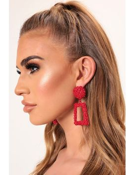 Red Jewel Dusted Drop Geometric Earrings by I Saw It First