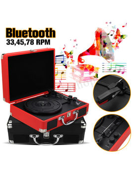 Maletín Tocadiscos Maleta Vinilo Plato Giratorio Altavoces Bluetooth 3 W 3 Velocidades by Ebay Seller