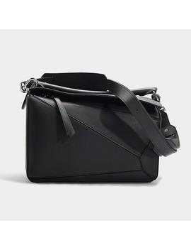 Puzzle Bag In Black Calfskin by Loewe