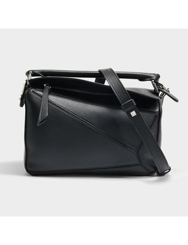 Puzzle Small Bag In Black Calfskin by Loewe