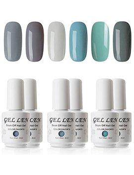 Gellen Cold Gray Series 6 Colors Gel Nail Polish, Uv Led Soak Off Gel Polish Set by Gellen