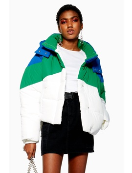 Petite Colour Block Puffer Jacket by Topshop
