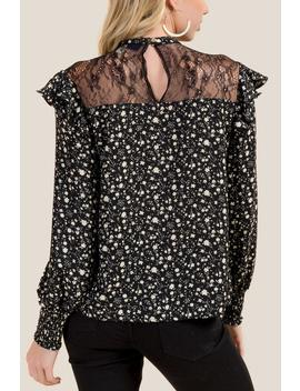 Anna Floral Peasant Sleeve Lace Blouse by Francesca's
