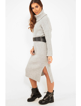 Grey Knitted Roll Neck Jumper Dress   Cecily by Rebellious Fashion