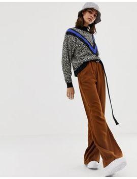 Pull&Bear Wide Leg Trouser In Brown by Pull&Bear