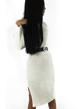 Beige Knitted Roll Neck Jumper Dress   Cecily by Rebellious Fashion