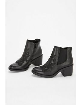Black Embroidered Chelsea Boot by Wallis