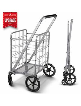 Newly Released Grocery Utility Flat Folding Shopping Cart With 360° Rolling Swivel Wheels Heavy Duty & Light Weight Extra Large Utility Cart by Winibest