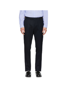 Pantalon Skinny à Taille Basse Bleu Marine Fun Mix Chalk Stripe Side Tab by Thom Browne
