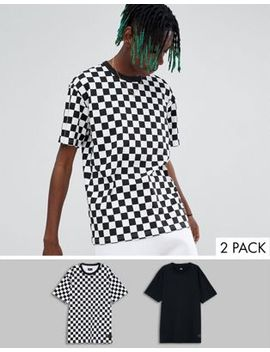 Levis Skateboarding 2 Pack T Shirt In Checkerboard Multi by Levi's