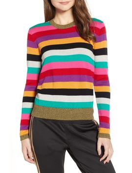 Stripe Metallic Trim Sweater by Pam & Gela