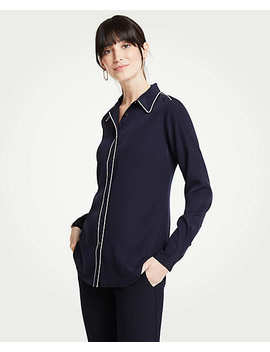 Piped Silky Perfect Shirt by Ann Taylor