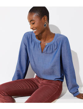 Chambray Split Neck Tunic by Loft