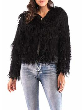 Anself Women's Shaggy Faux Fur Coat Solid Color Long Sleeve Short Jacket by Anself