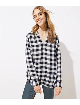 Plaid Split Neck Blouse by Loft