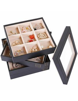 Valdler 4 Stackable Jewelry Organizer Tray With Clear Glass Lid Showcase Display Storage by Valdler
