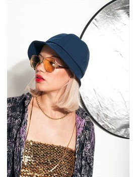 80s Vintage Bucket Hat In Dark Blue by Pop Sick