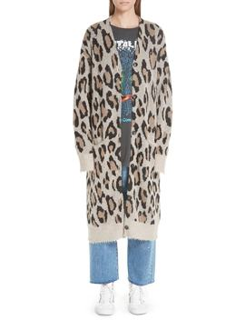 Long Leopard Cashmere Cardigan by R13