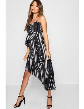 Monochrome Mixed Print Layered Cami Dress by Boohoo