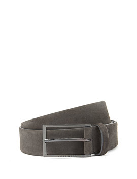 Soft Suede Leather Belt With Polished Gunmetal Pin Buckle by Boss