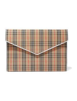 Leather Trimmed Checked Cotton Drill Clutch by Burberry