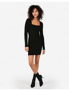 Metallic Square Neck Long Sleeve Bodycon Dress by Express