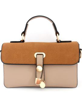 Colorblock Faux Leather Satchel by Knotty