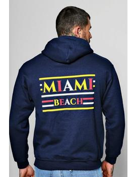 Miami Beach Front And Back Print Hoodie by Boohoo