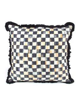 Courtly Check Ruffled Square Pillow by Mac Kenzie Childs