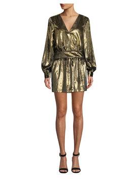 Metallic Velvet Long Sleeve V Neck Mini Dress by Frame