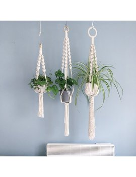 Chunky Macrame Plant Hanger / Spiral Crown / 3 Sizes / Handmade Hanging Planter by Etsy