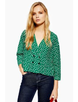 Petite Polka Dot Button Pyjama Shirt by Topshop