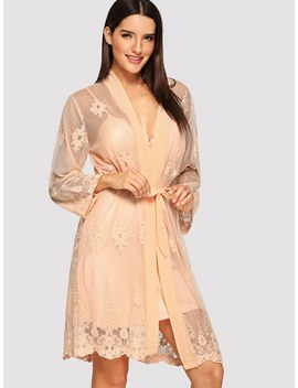 Lace Embroidered Cami Dress With Robe by Shein
