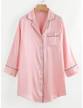 Contrast Trim Satin Pyjama Shirt Dress by Shein