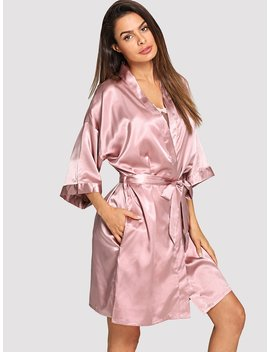 Solid Self Belted Robe by Shein
