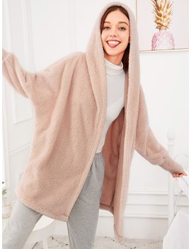 Solid Plush Hooded Robe by Shein