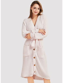 Button Front Self Belted Robe by Shein