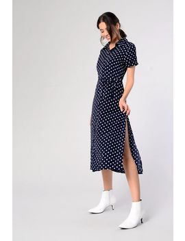 **Polka Dot Midi Shirt Dress By Glamorous Petites by Topshop