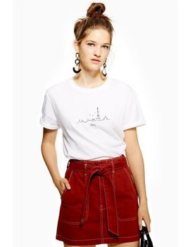 Petite Paris Embroidered Skyline T Shirt by Topshop