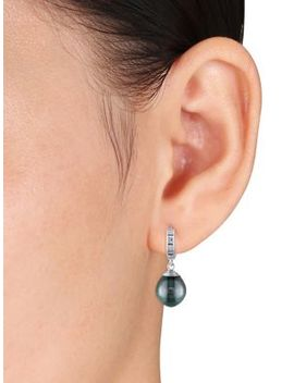 9 10 Mm Tahitian Cultured Pearl And 14 K White Gold Hinged Hoop Drop Earrings by Sonatina