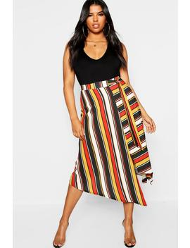 Plus Stripe Asymetric Midi Skirt by Boohoo