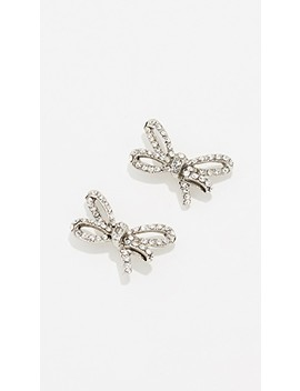 Pave Metal Bow Earrings by Oscar De La Renta