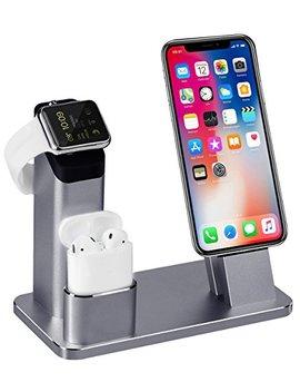 Apple Watch Stand, Aluminum 3 In 1 Apple Watch I Phone Airpods Ständer Ladestation Von Tofurt Docking Station Für Apple Watch Series 3/2/1/ Air Pods/ I Phone X/8/8 Plus/7/7 Plus /6 S /6 S Plus/Ipad,Silber by Amazon