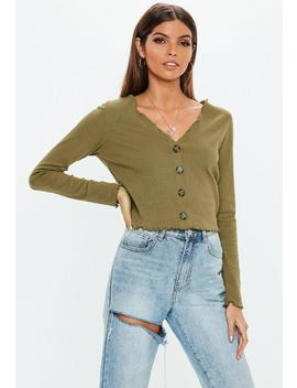 Khaki Horn Button Lettuce Hem Ribbed Crop Top by Missguided