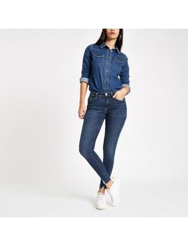 Dark Blue Amelie Ripped Hem Skinny Jeans by River Island