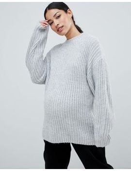 Asos Design Maternity Chunky Jumper In Rib With Crew Neck by Asos Design