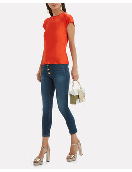 Orange Red Satin Cap Sleeve Top by Helmut Lang