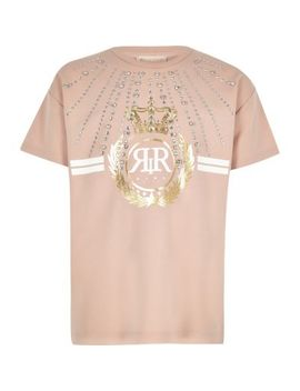 Girls Ri Active Pink Embellished T Shirt by River Island