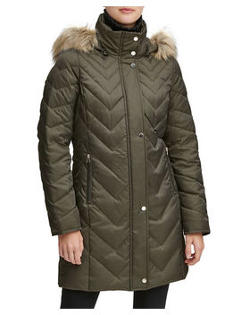 Chevron Down Fill Faux Fur Hooded Coat by Marc New York By Andrew Marc