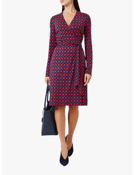 Hobbs Delilah Wrap Dress, Red Navy by Hobbs